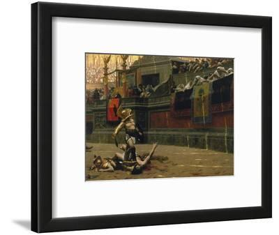 Vintage Print of a Roman Gladiator with His Defeated Opponent