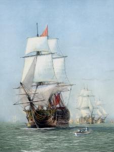 Vintage Print of Hms Victory of the Royal Navy by Stocktrek Images