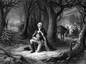 Vintage Revolutionary War Print of General George Washington Praying at Valley Forge by Stocktrek Images