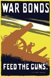 Vintage World War I Poster Featuring Soldiers Operating an Artillery Gun by Stocktrek Images