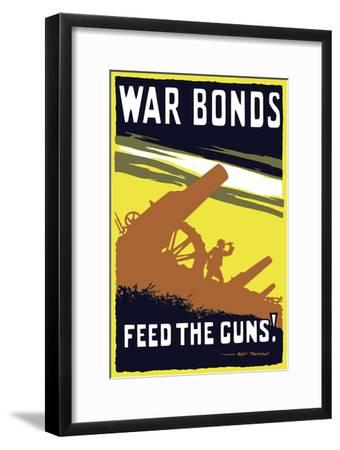 Vintage World War I Poster Featuring Soldiers Operating an Artillery Gun