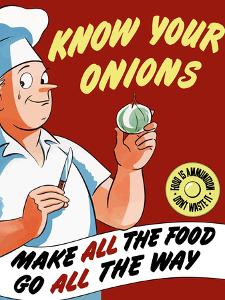 Vintage World War II Poster of a Chef Holding An Onion with a Tear in His Eye by Stocktrek Images