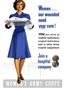 Vintage World War II Poster of An Army Corps Nurse Working in a Hospital by Stocktrek Images
