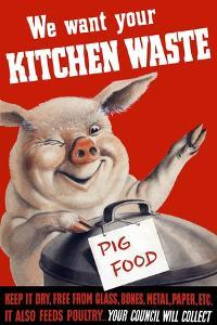 Vintage World Ware II Poster Featuring a Pig Standing with a Garbage Can by Stocktrek Images