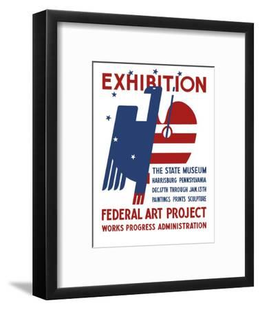 Vintage Wpa Poster Features a Red, White, and Blue Eagle