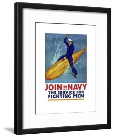 World War I Propaganda Poster of a Sailor Riding a Torpedo