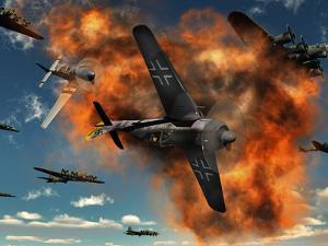 World War II Aerial Combat Between American P-51 Mustang and German Focke-Wulf 190 Fighter Planes by Stocktrek Images