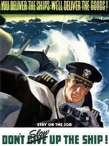 World War II Poster of a Navy Commander with Binoculars Aboard a Battleship by Stocktrek Images