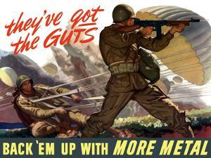 World War II Poster of Airborne Troops Parachuting Into Battle by Stocktrek Images