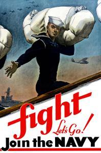 World War Two Poster of a United States Sailor Heading Off To War by Stocktrek Images