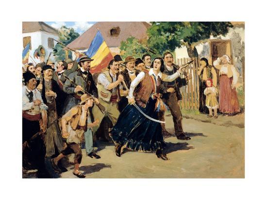Stoica Ana Ipatescu Guiding Revolutionary Troops, June 1848, Romania--Giclee Print