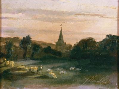 Stoke Poges Church (Oil on Panel) (Recto of 261372)-Thomas Churchyard-Premium Giclee Print