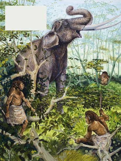 Stone Age Man and Elephant--Giclee Print