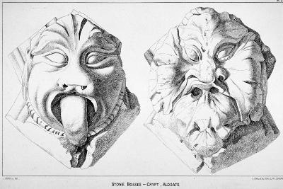 Stone Bosses from St Michael's Crypt, Aldgate Street, London, C1830-J Emslie & Sons-Giclee Print