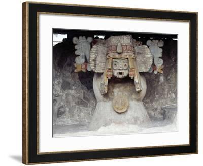 Stone Brazier with Traces of Color Depicting Tlaloc--Framed Giclee Print
