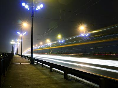 Stone Bridge Lights in Fog ,Riga- dolfvik-Photographic Print