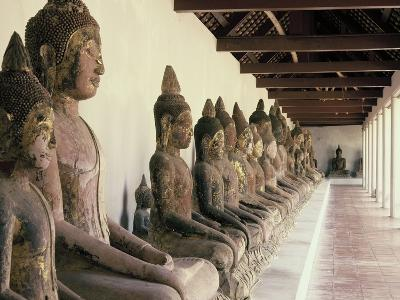 Stone Buddha Images from the Ayutthaya Period in the Cloister--Photographic Print