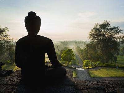 Stone Buddha Silhouetted at Sunrise, Borobudur Temple, UNESCO World Heritage Site, Java, Indonesia-Matthew Williams-Ellis-Photographic Print