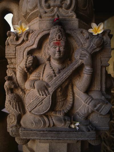 Stone Carving of the Goddess Saraswati-Martin Gray-Photographic Print