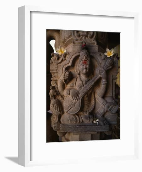 Stone Carving of the Goddess Saraswati-Martin Gray-Framed Photographic Print