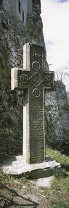Stone Cross at a Castle, Bran Castle, Brasov, Transylvania, Mures County, Romania
