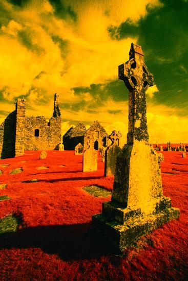 Stone Crosses and Ruins in a Bizarre Landscape-Richard Cummins-Photographic Print