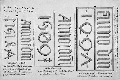 Stone Date Marks Reading 1497, 1506 and 1514 from London Bridge, 1758--Giclee Print