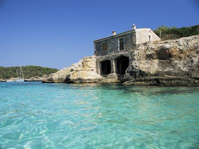 Stone Dwelling Overlooking Bay, Cala Mondrago, Majorca, Balearic Islands, Spain-Ruth Tomlinson-Photographic Print