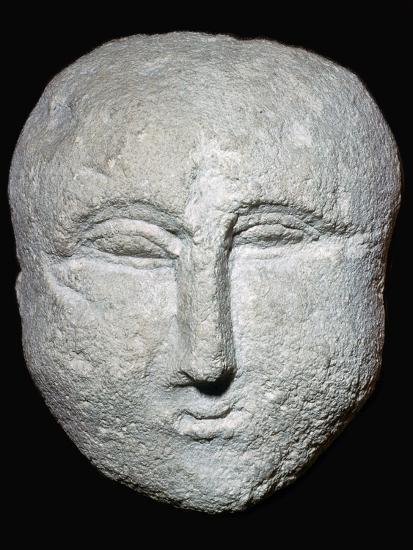 Stone ex-voto Roman head. Artist: Unknown-Unknown-Giclee Print