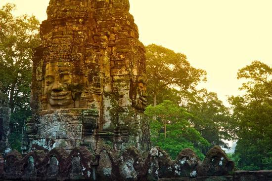 Stone Faces Carved in the Ancient Ruins of Bayon Temple-Kike Calvo-Photographic Print