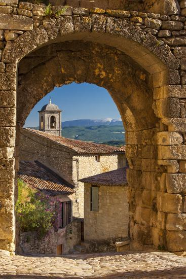 Stone Gate in Lacoste with Mount Ventoux Beyond, Provence, France-Brian Jannsen-Photographic Print