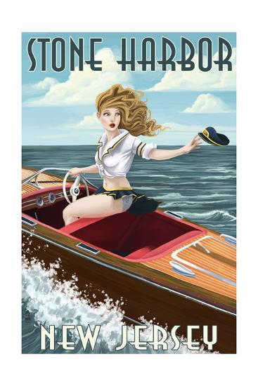 Stone Harbor, New Jersey - Boating Pinup-Lantern Press-Art Print