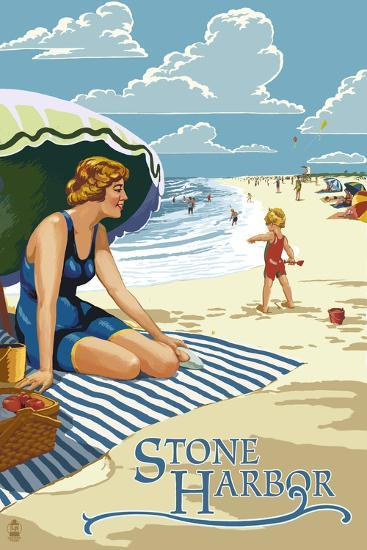 Stone Harbor, New Jersey - Woman on Beach-Lantern Press-Wall Mural