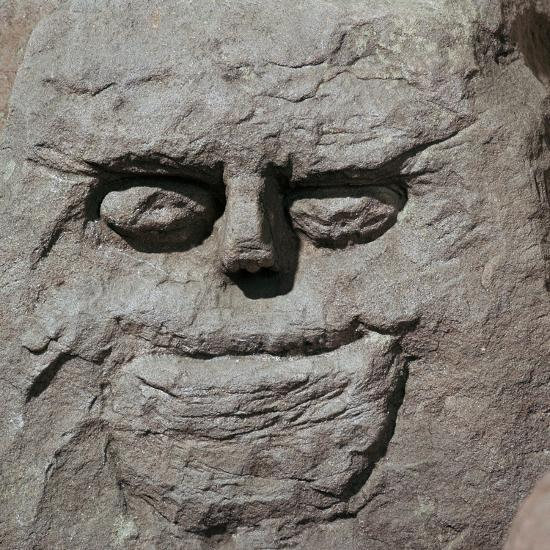 Stone head from a pagan Celtic shrine. Artist: Unknown-Unknown-Giclee Print