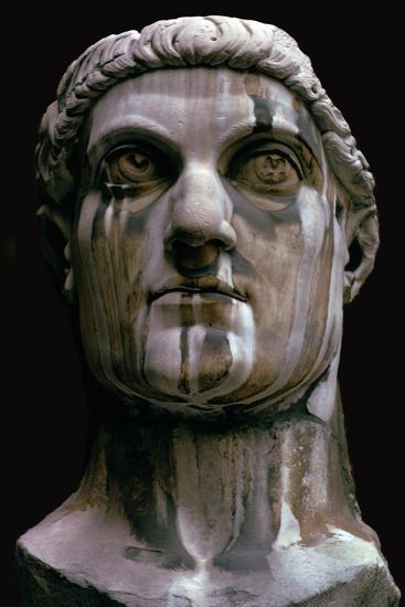 Stone head of a colossal statue of Constantine I, 3rd century-Unknown-Giclee Print