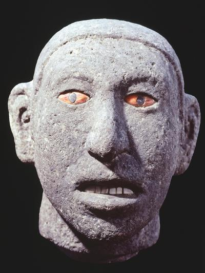 Stone Head of a Man with Eyes and Teeth of Shell, Artifact Originating from Mexico--Giclee Print