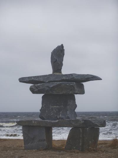 Stone Inukshuk Stands at the Edge of Hudson's Bay-Taylor S^ Kennedy-Photographic Print