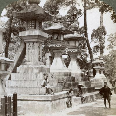 Stone Lanterns at Sumiyoshi, Osaka, Japan, 1904-Underwood & Underwood-Photographic Print