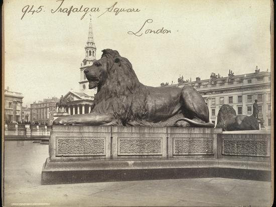 Stone Lion, Trafalgar Square, London, 19th Century-Francis Frith-Giclee Print