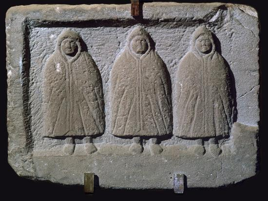 Stone relief of a trio of hooded Romano-British deities, 3rd century. Artist: Unknown-Unknown-Giclee Print