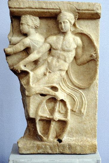 Stone Sculpture of Greek Warriors in a Chariot, C500 Bc--Photographic Print
