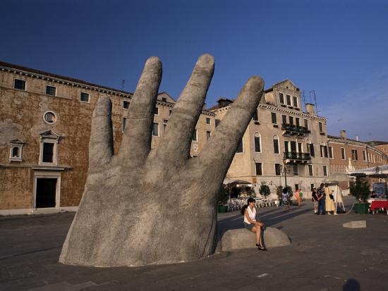Stone Sculpture of Hand on Riva Degli Schiavoni, Venice, Veneto, Italy-Gavin Hellier-Photographic Print