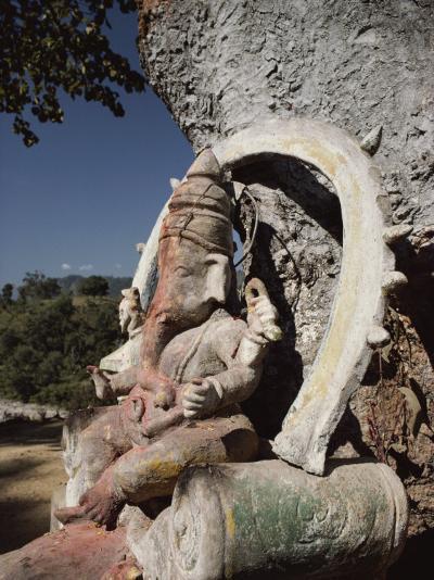Stone Sculpture Shrine to the Hindu Deity Ganesh-Gordon Wiltsie-Photographic Print