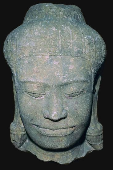 Stone sculptured head in Angkok style, 10th century. Artist: Unknown-Unknown-Giclee Print