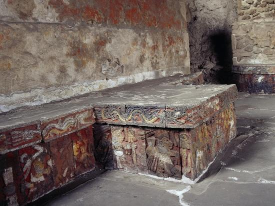 Stone Seat with Polychrome Reliefs Depicting Warriors--Giclee Print