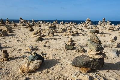 Stone Set Up on Shore, Aruba, ABC Islands, Netherlands Antilles, Caribbean, Central America-Michael Runkel-Photographic Print