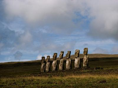 Stone Statues Called Moai Dot the Landscape of Easter Island-James P^ Blair-Photographic Print