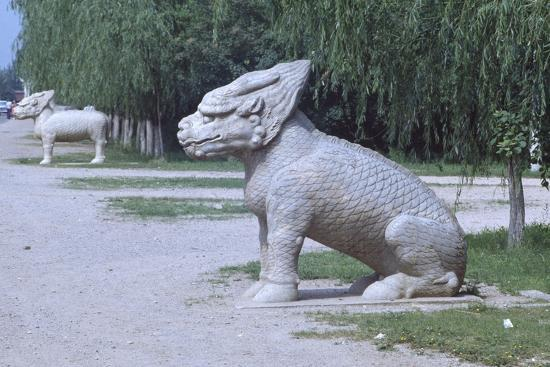 Stone Statues of Animals Along Sacred Way or Spirit Way Leading to Tombs of Ming Emperors Beijing--Giclee Print