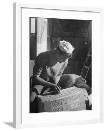 Stonecutter Student Clyde Minich Working in His Father's Tombstone Shop to Earn Graduation Credits-Nina Leen-Framed Photographic Print