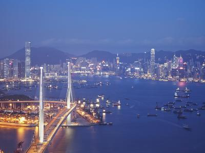 Stonecutters Bridge, Victoria Harbour and Hong Kong Island at Dusk, Hong Kong, China-Ian Trower-Photographic Print